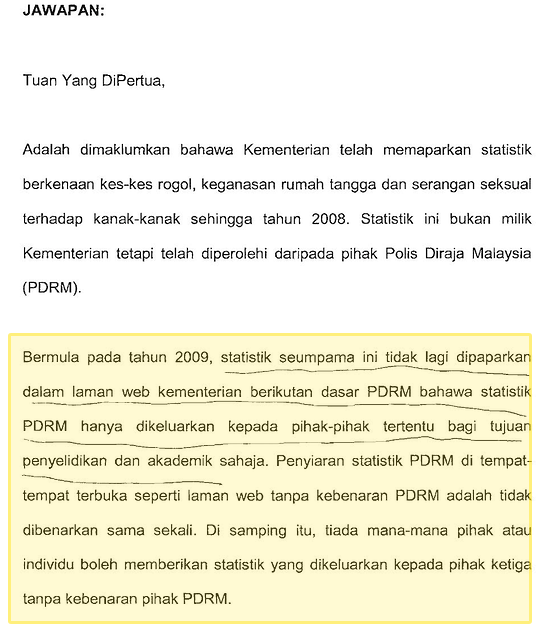 Parliamentary Reply PDRM Restricting Publication of Crime Data