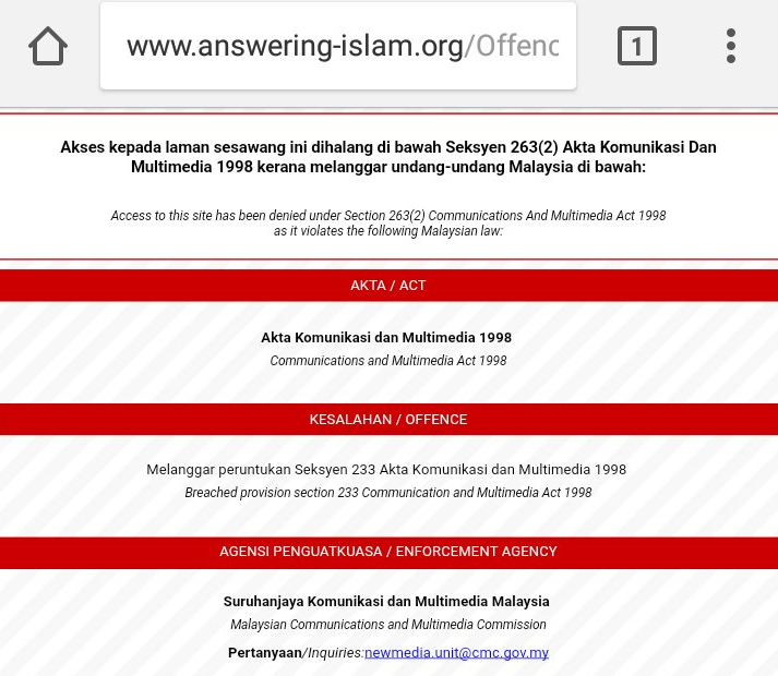 Answring Islam MCMC Offense Notice